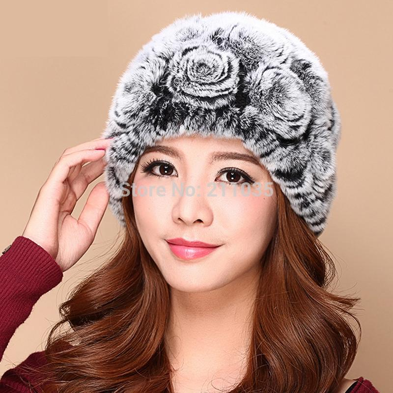 Female Plus Size 100% Rabbit Fur   Skullies     Beanies   Hats Woman Winter Dimensional Roses Stretch Thick Warm Protection Ear Caps