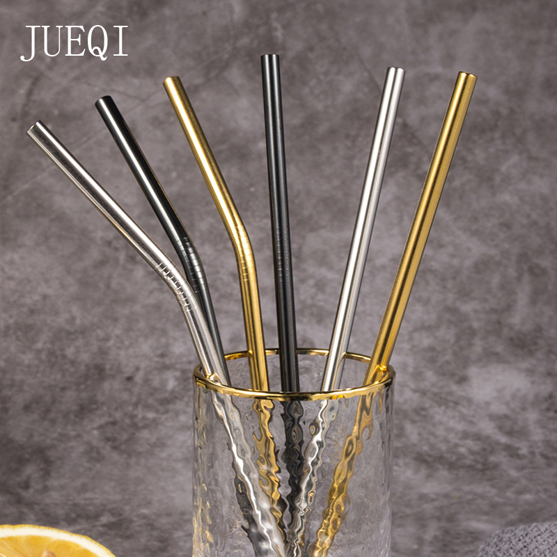 JuiQi 304 Stainless Steel Metal Straw High Quality Reusable Drinking Straw with Cleaning Brush and Storage Pouch Golden