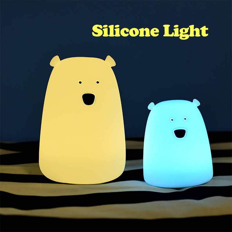 Children Christmas Gift Colorful Animal Bear Silicone LED Night Light 2 Modes Touch Sensor Cute Baby Kids Night Lamp Cat Peach