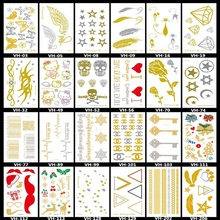 2 PCS Gold And Silver Tattoo Stickers Europe And The United States Small Fresh Metal Tattoo Stickers VH207-VH402