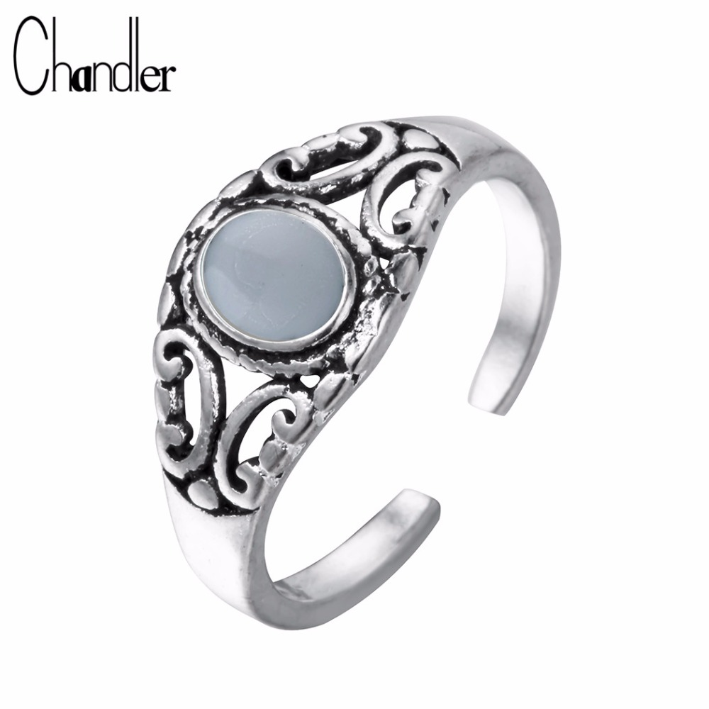 Chandler Silver Plating Jewelry Oval Glass Noble Antique Lucky Totem Rings For Women Men Courtly Stone Anel Thai Silver Jewelry