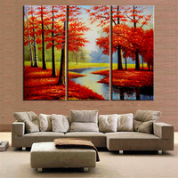 3 Pieces diamond Painting Red Tree Posters Decoration,DIY Diamond Embroidery,Picture of rhinestone,cross stitch new year gift