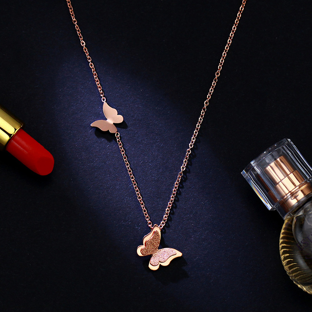 Yun ruo fashion brand woman jewelry yellow rose gold silver color yun ruo fashion brand woman jewelry yellow rose gold silver color butterfly pendant necklace 316 l mozeypictures Gallery