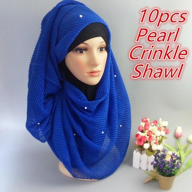 U 9 High quality pearl crinkle hijab women   scarf     scarves   crumple   wrap   muslim shawl 180 85cm