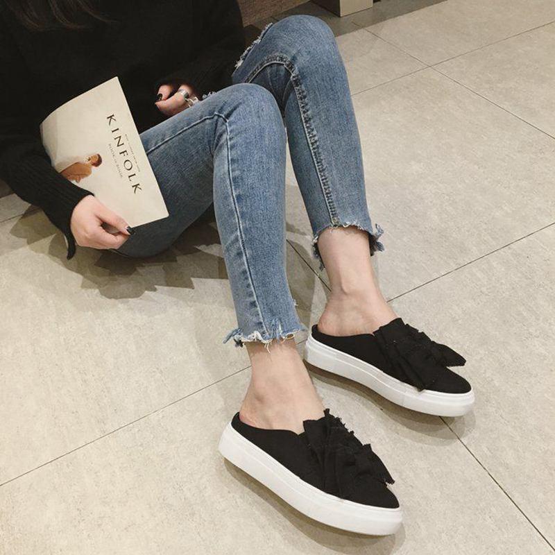 Lona De Perezosos 2018 Mujer Nuevos Medias Suela blanco Para Libre Blanca Al Lazo Con Aire Zapatos Negro Zapatillas wAqZt