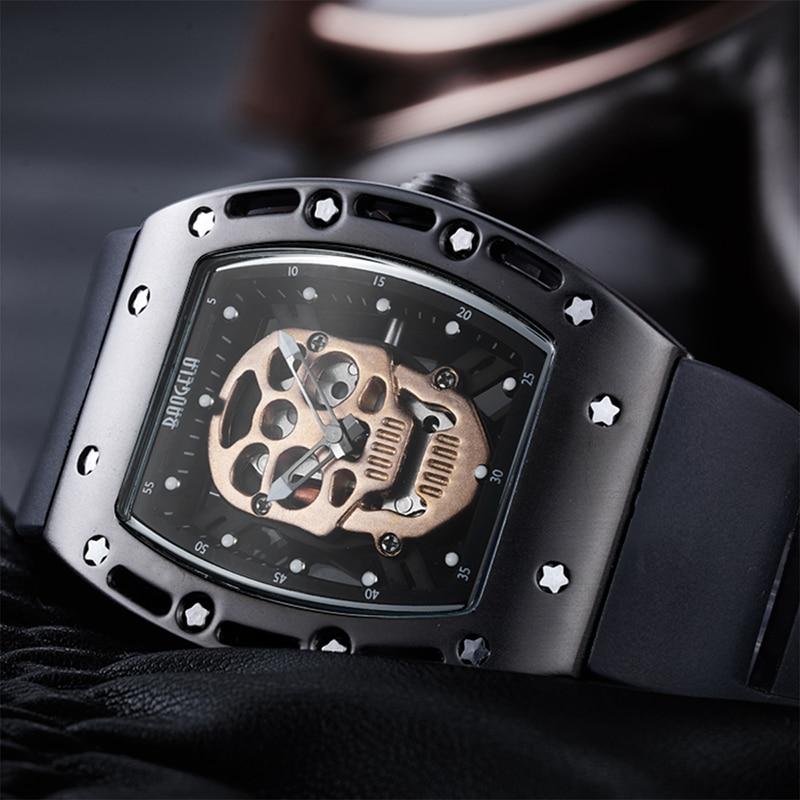 Baogella男性腕時計ファッション新しい高級ブランド海賊中空シリカ時計男性カジュアルスポーツウォッチ男性発光スポーツ腕時計