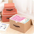 2017 New organizer  High Quality Flax Color Convenient Folding Storage Box Toy Finishing Box