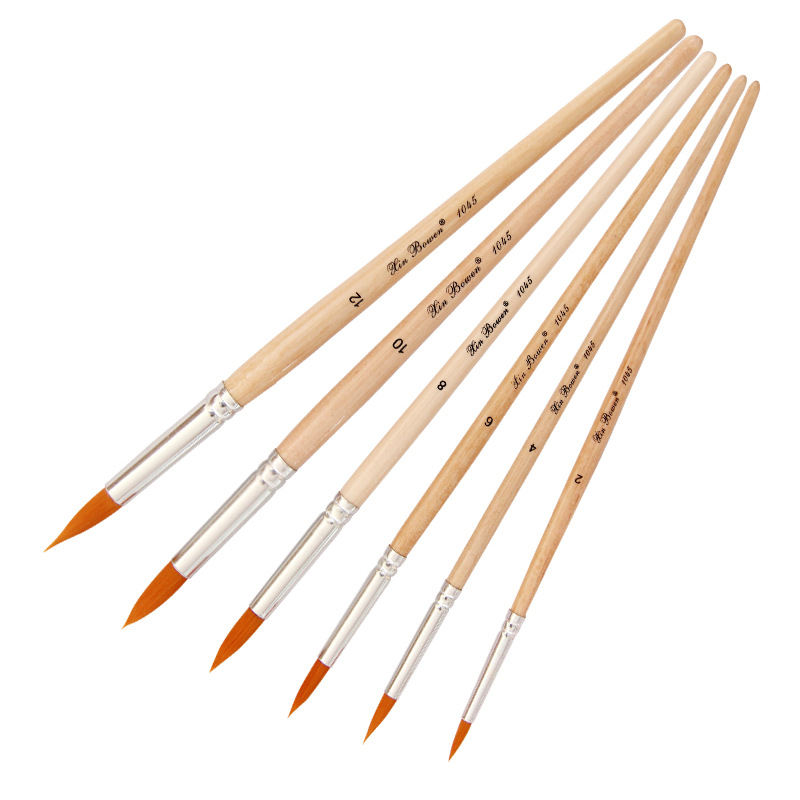 6 Pcs Sets Fine Watercolor Propylene Painting Brushes Short Wood Rod Round Head Oil Painting Brushes Artistic School Supplies