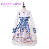 Classic Lolita OP Dress Cookie Rabbit Ruffle Bow Light Blue Lolita One Piece Dress