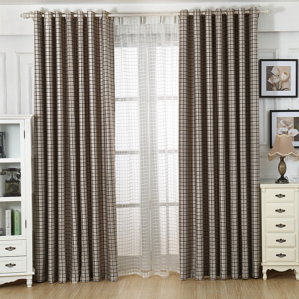 2015 new grey plaid finished luxury modern blackout curtains for living room the bedroom shade for Grey bedroom window treatments
