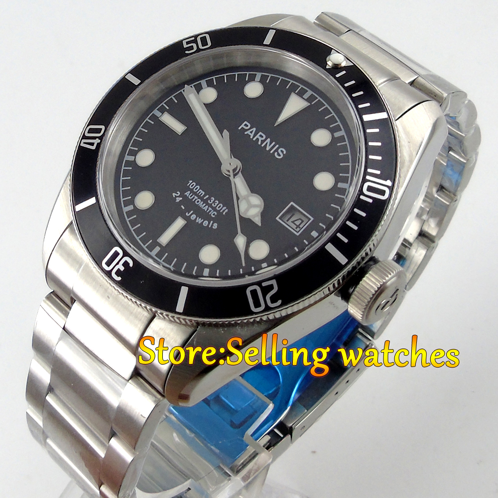 41mm Parnis  Black Dial 10 ATM Waterproof 24 jewels Miyota Automatic Sapphire Glass Date mens Watch