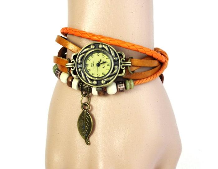 Paradise 2016 Hotsale Fashion 1PC Womens Bracelet Vintage Weave Wrap Quartz Leather Leaf Beads Wrist Watches Free Shipping Apr12
