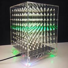 лучшая цена 8S Music LED Night Light luminaria Set 8x8x8 Music Spectrum LED Lamp Electronic DIY Kits lot