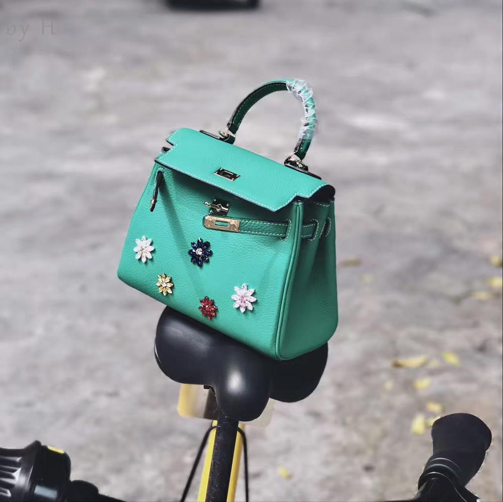by H genuine leather 2019 new luxury designers diamond shoulder bag ladies top handle totes classical green summer handbagby H genuine leather 2019 new luxury designers diamond shoulder bag ladies top handle totes classical green summer handbag
