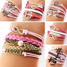 New 2014 Leather Bracelets For Women Infinity Bracelet Multilayer Braided Leather Bracelet Multilayer Rope Bracelets Wholesale