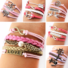 New 2014 Leather Bracelets For Women Infinity Bracelet Multilayer Braided Leather Bracelet Multilayer Rope Bracelets Wholesale