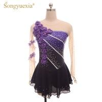 SONGYUEXIA Women Figure Skating Dress Long Sleeve Gymnastics Leotard Ballerina Party Costume for Girls Purple Diamond Dancewear