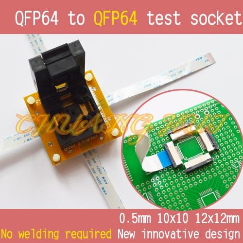 IC TEST QFP64 To QFP64 Test Socket QFP64 TQFP64 Pitch=0.5mm Size=10x10mm 12x12mm No Welding
