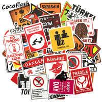 50 pièces avertissement signe autocollant papier peint décalcomanie moto réfrigérateur Skateboard Doodle drôle autocollants pour Auto ordinateur portable coffre voiture