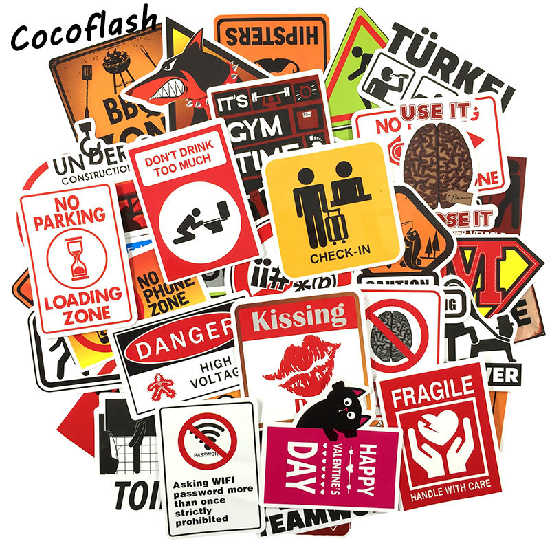 Image 1 - 50 pcs Warning Sign Sticker wallpaper Decal Motorcycle Fridge Skateboard Doodle Funny Stickers for Auto Laptop Trunk Car-in Stickers from Toys & Hobbies