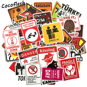 цена на 50 pcs Warning Sign Sticker wallpaper Decal Motorcycle Fridge Skateboard Doodle Funny Stickers for Auto Laptop Trunk Car