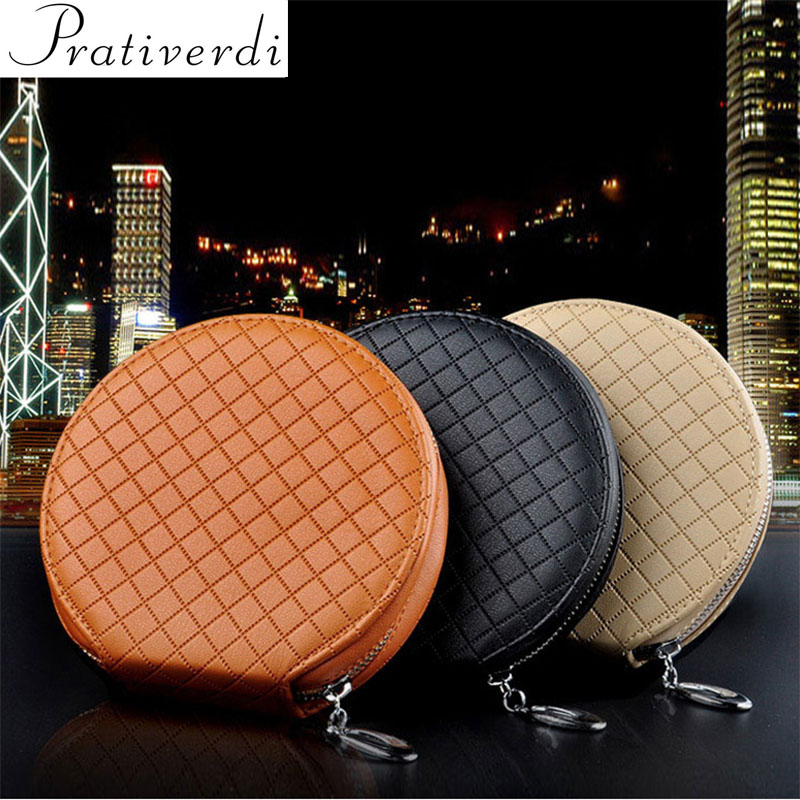 prativerdi New Fashion Car Lattice CD Box For DVD Case Automotive Supplies Storage Bag Car Holder Leather CD Travel Organizer