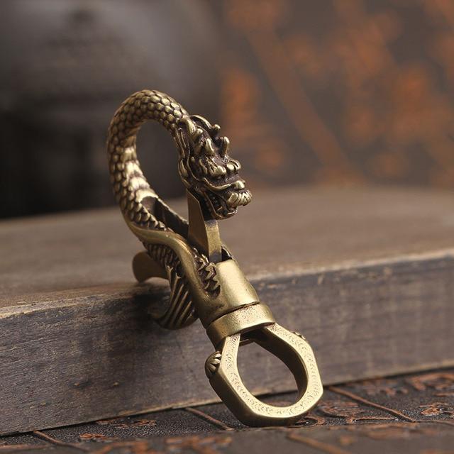 Copper Dragon Head Keychain Antique Craft Key Chains Lobster Clasps Keyring Waist Buckle Brass Metal Vintage Car Key Holder Gift 1