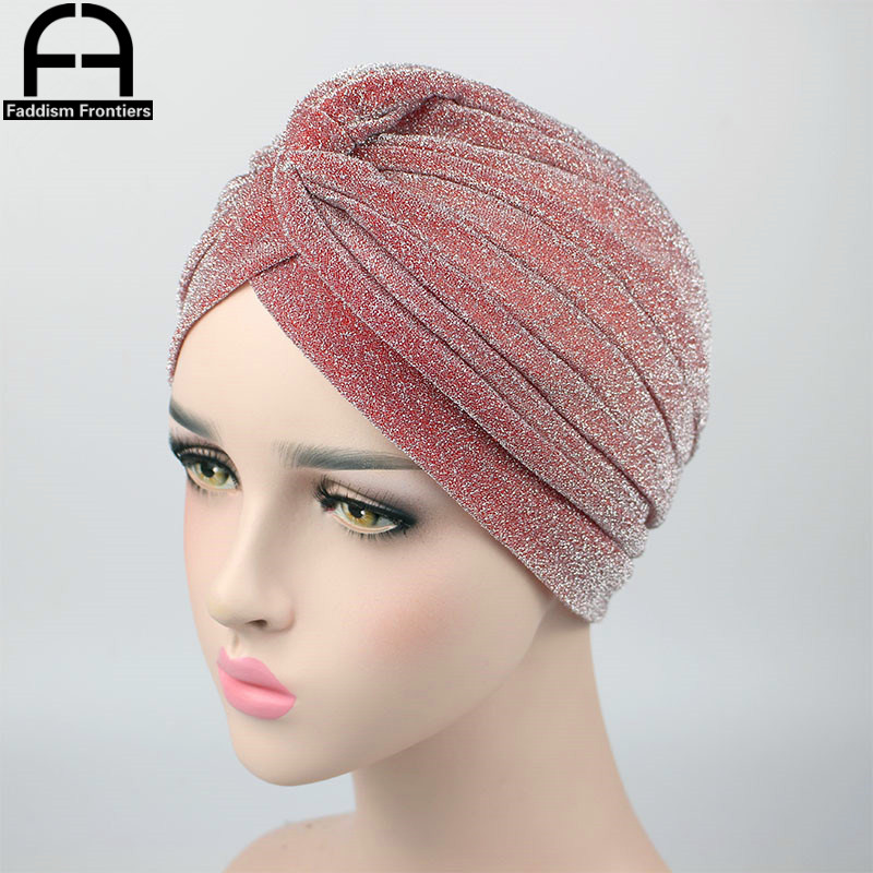 Fashion Women Shiny Turban Polyester Sparkly Turban Headband Hat Breathable   Headwear   Hair Accessories Muslim Turban