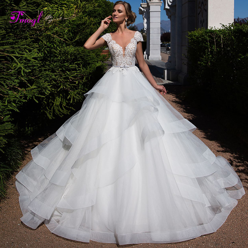 A Line Wedding Dresses With Cap Sleeves: Fmogl Graceful Ruched Organza A Line Princess Wedding