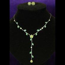 Свадебный Свадьба Невесты Зеленый Цветок Горный Хрусталь Ожерелье Серьги CS1008