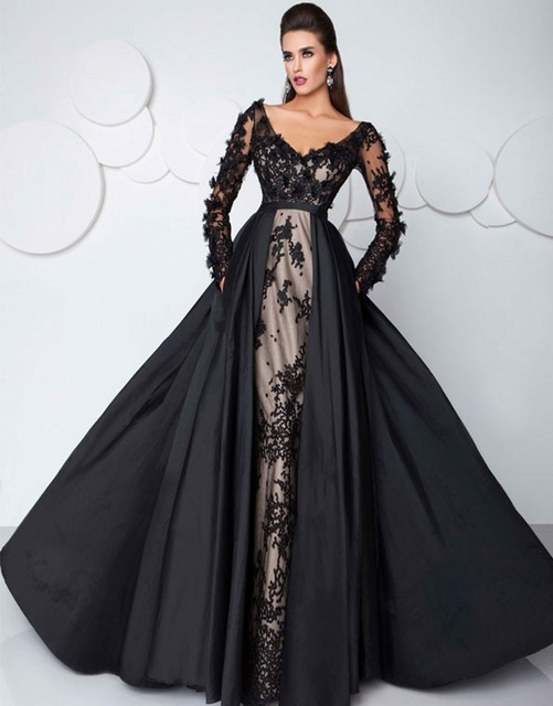 Vestidos De Fiesta Fashion 2016 Long Elegant Prom Dresses Black Lace