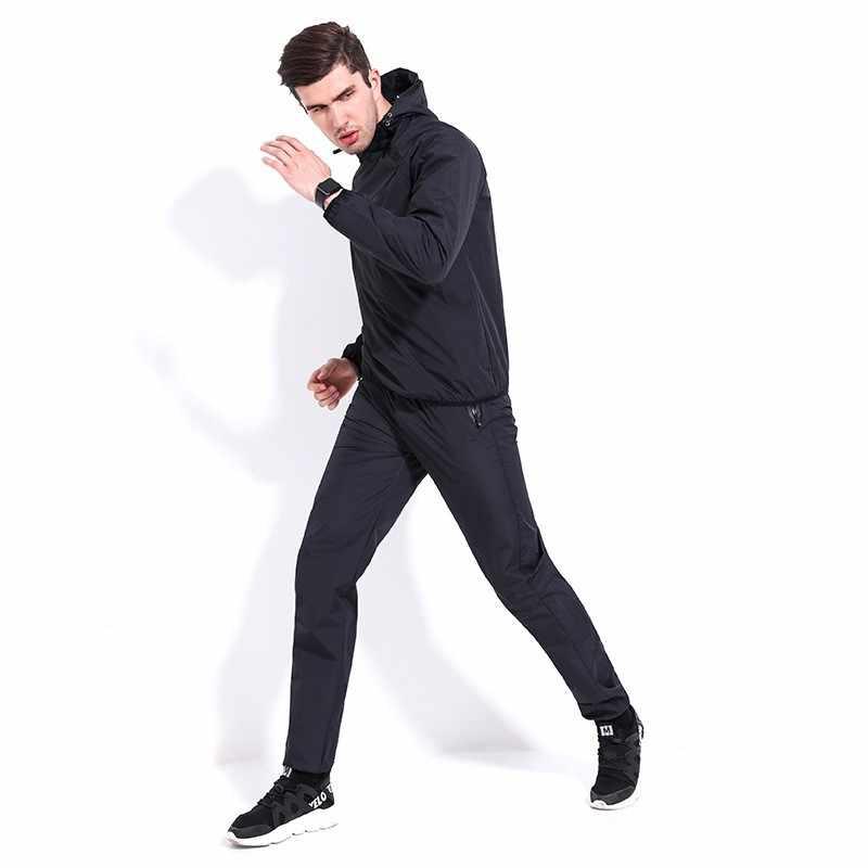 Пот куртка для бега Для мужчин на лето и весну с длинным рукавом Кепки спортивной одежды носить тренажерный зал Водонепроницаемый спортивный костюм для больших Для мужчин s Plus Размеры 100 кг