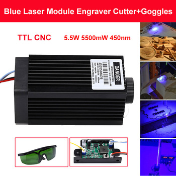 5.5W 5500mW 450nm Blue Laser Module DIY laser head for CNC laser head engraving module and laser cutter head with Free Goggles