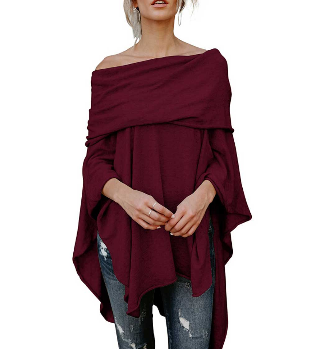 Off Shoulder Women Knitted Sweaters Long Sleeve Jumper Sweater Pullovers Wrap Cowl Slash Neck Shawl Tops