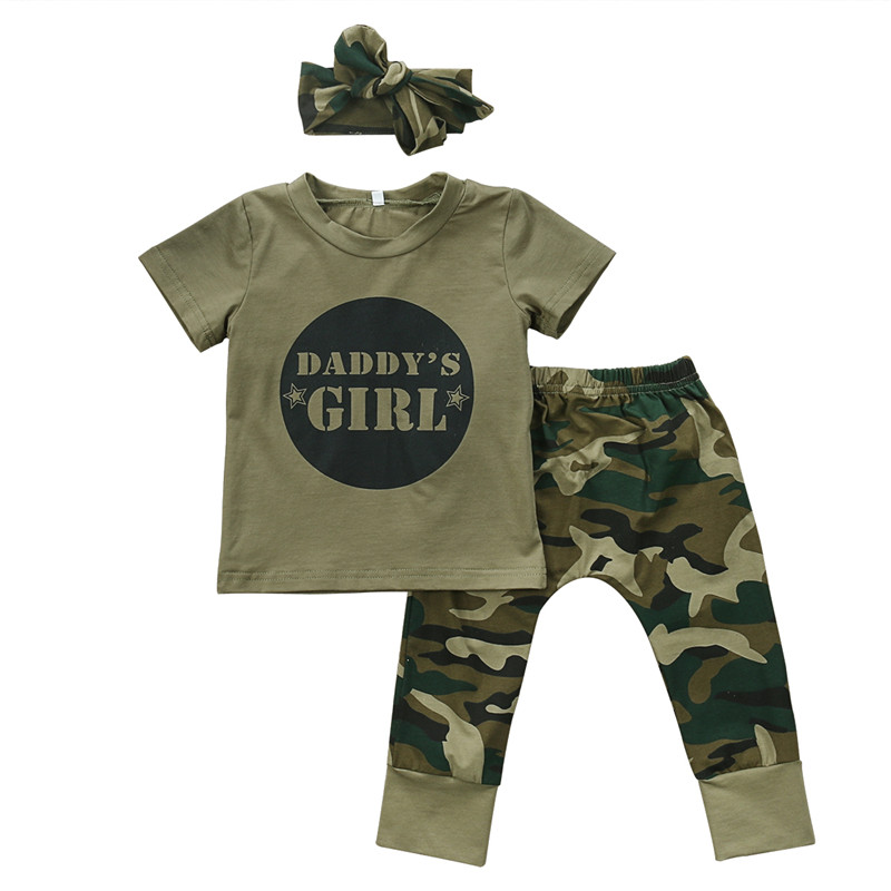 Cute Boys Girls Clothes short sleeve letter print pullover round neck T-shirts camouflage Pants Bow Headband 2 or 3pc cotton Set bracelet