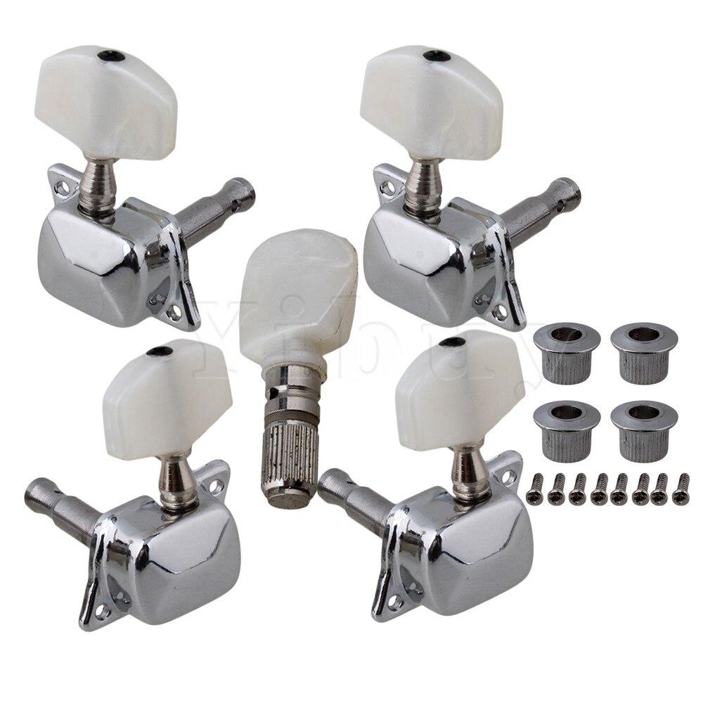 Yibuy 5pcs Semiclosed Banjo Machine Head Tuning Tuner Peg w/ Bushing Guitar Parts yibuy 2pcs inlay colorful guitar head veneer shell sheet new