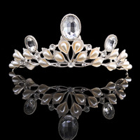 Baroque Wedding Tiara Hair Accessories Calla Shape Rhinestone Bridal Crown Bride Princess Jewelry Headband HG00256