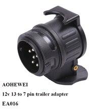 AOHEWEI 12 V 13 Pinos da ficha de 7 soquete Pino tomada conector do adaptador de reboque caminhão reboque 13 para 7 pino adaptador de reboque