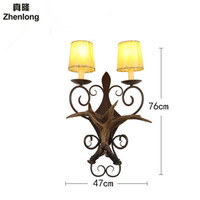 Art Deco Retro Wooden Resin Antler Wall Lamp American Country Wall Light Deer Horn Candle Lampshade Wall Sconce E14 Led Bulb