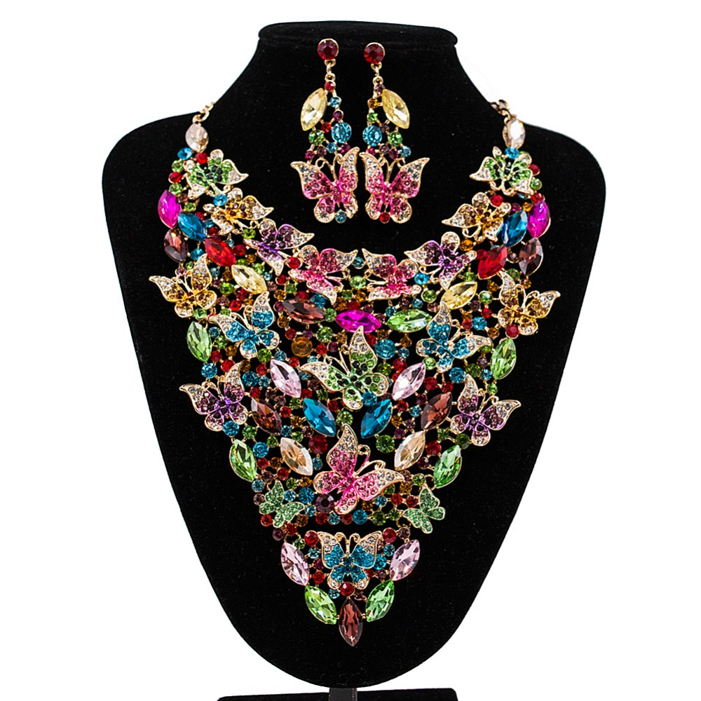 LAN PALACE boutique wedding jewelry set Butterfly Austrian crystal necklace and earrings for party  free shippingLAN PALACE boutique wedding jewelry set Butterfly Austrian crystal necklace and earrings for party  free shipping