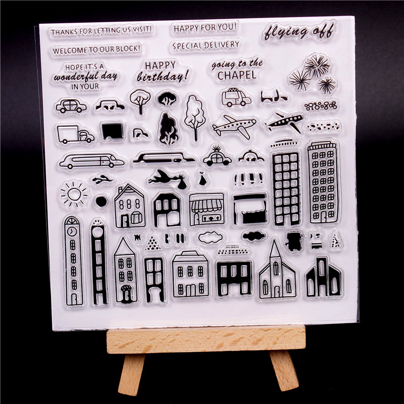 French word Transparent Clear Silicone Stamps for DIY Scrapbooking Card Making diy photo Roller album Decorative House car