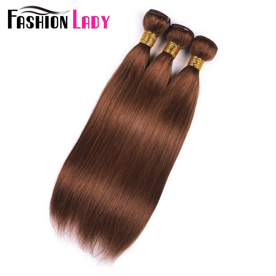 Fashion Lady Pre-Colored Indian Hair Extensions Straight Hair 3 Bundles Human Hair Bundles With Color 30 Brown Bundles Non-Remy
