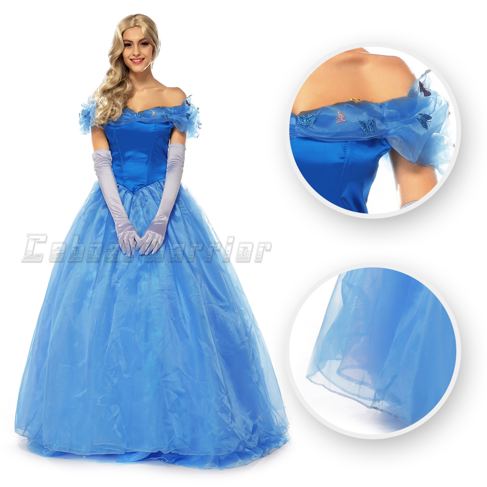 New Cinderella princess cosplay costume cinderella blue dress for adult women with gloves