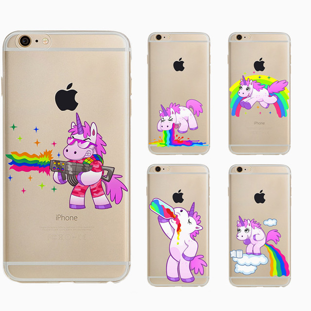 half off 89de7 68bcf US $4.2 |Tpu Capa For Apple Iphone 5s Case Soft Cute Hippo Rainbow Unicorn  Horse Clear Plastic Phone Case For Iphone 5 Back Cover-in Fitted Cases from  ...