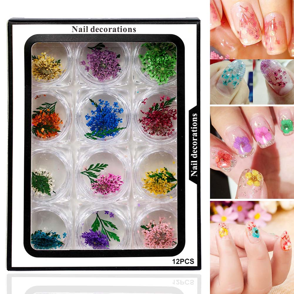 Hot Sale 12 Colors Natural Dried Flower Nail Decoration 3D Fashion Style Applique Nail Stickers