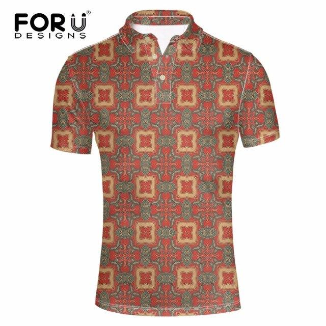 FORUDESIGNS Повседневная Polo Shirt Men Polo Shirt 3D Геометрические Печати Марок Мужчины Британский Polo-рубашки Хлопка С Короткими Рукавами Мужчины рубашка