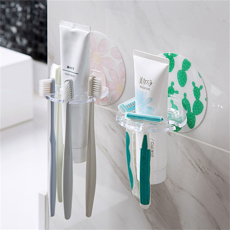 BASUPPLY 1PC Toothbrush Holder Shaver Toothpaste Storage Rack Self-adhesive  Storage Organizer Kitchen Bathroom  Accessories