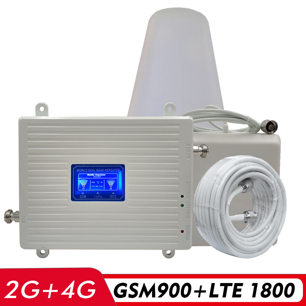 65dB Gain 2G 3G 4G Dual Band Booster GSM 900+DCS/LTE 1800 FDD LTE 1800MHz Cell Phone Signal Repeater Cellular Amplifier Full Set