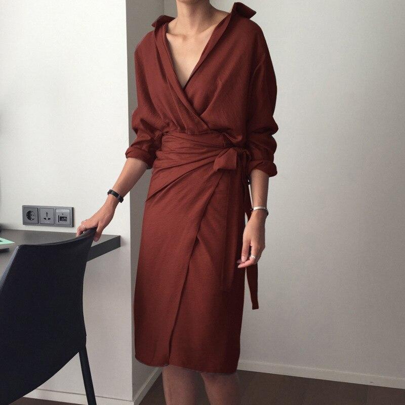 Casual Women's Dresses Linen Cotton V Neck Beige Long Sleeve Empire Summer Dress Mid-Calf Loose Female Dresses vestidos 4