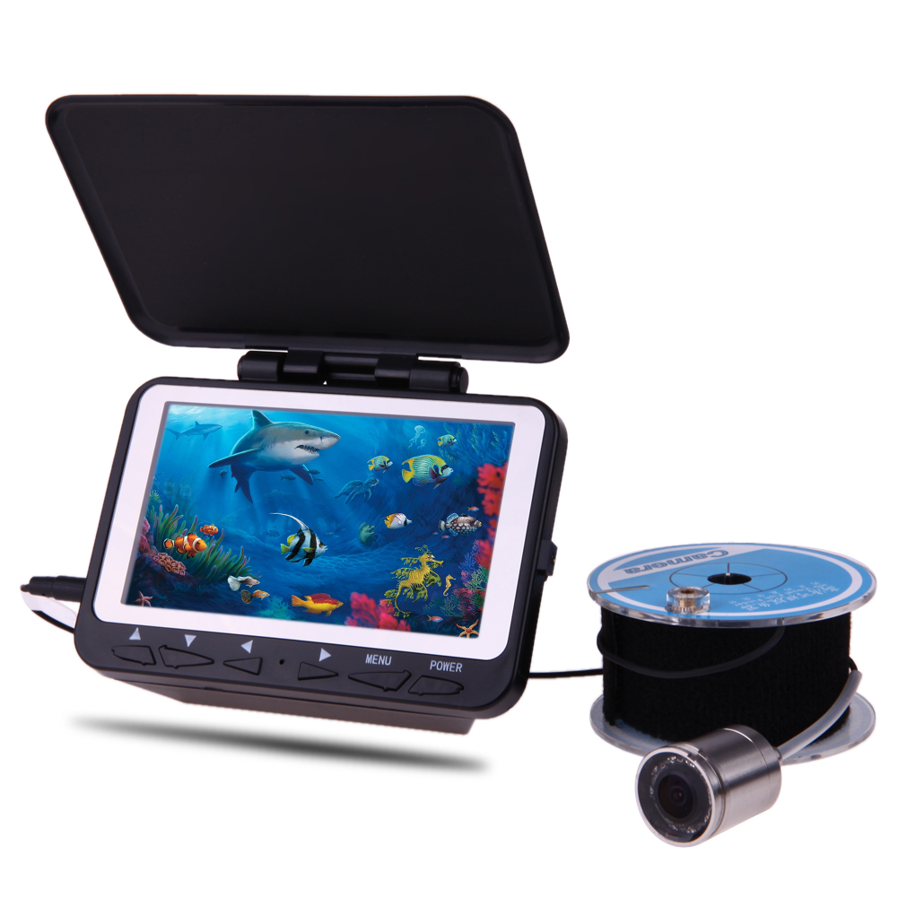 4.3'' LCD 1000TVL Lights Fish Finder Underwater Waterproof Fishing Video Camera Monitor System Kits 15m 30m Cable Rechargeable 30m video